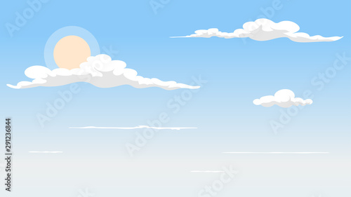 Foto auf AluDibond Weiß Landscape blue sky and white clouds on sunny day.Sky and cloud background.cartoon sky concetp.Vector illustration