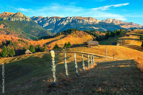 Poster Kaki Autumn rural landscape with mountains near Brasov, Bran, Transylvania, Romania