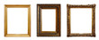 canvas print picture - Set of three vintage golden baroque wooden frames on isolated background