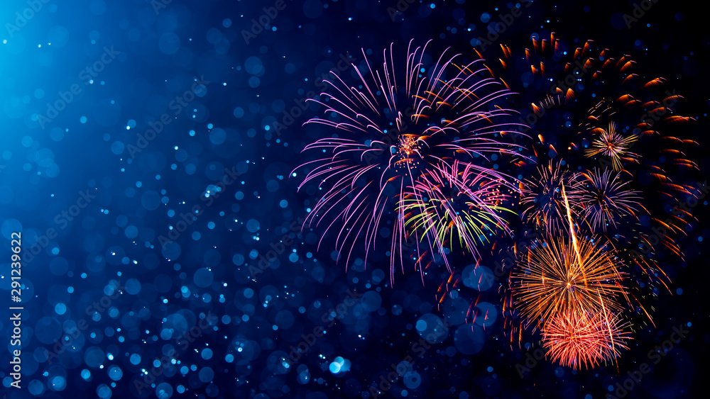 Fototapety, obrazy: Fireworks with Abstract bokeh background