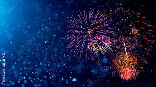 Photo  Fireworks with Abstract bokeh background