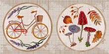 Embroidery Collection. Floral Bicycle, Autumn Leaves And Mushrooms. Fashion Style. Template Tambour Frame With A Canvas, Elements From Stitches. Art For Clothes