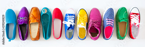 A lot of colored youth women's shoes without heels Wallpaper Mural