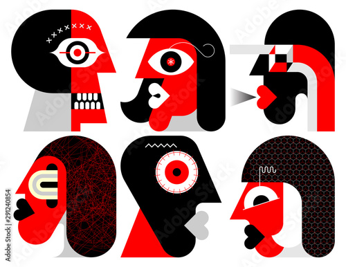 Six Portraits vector illustration.
