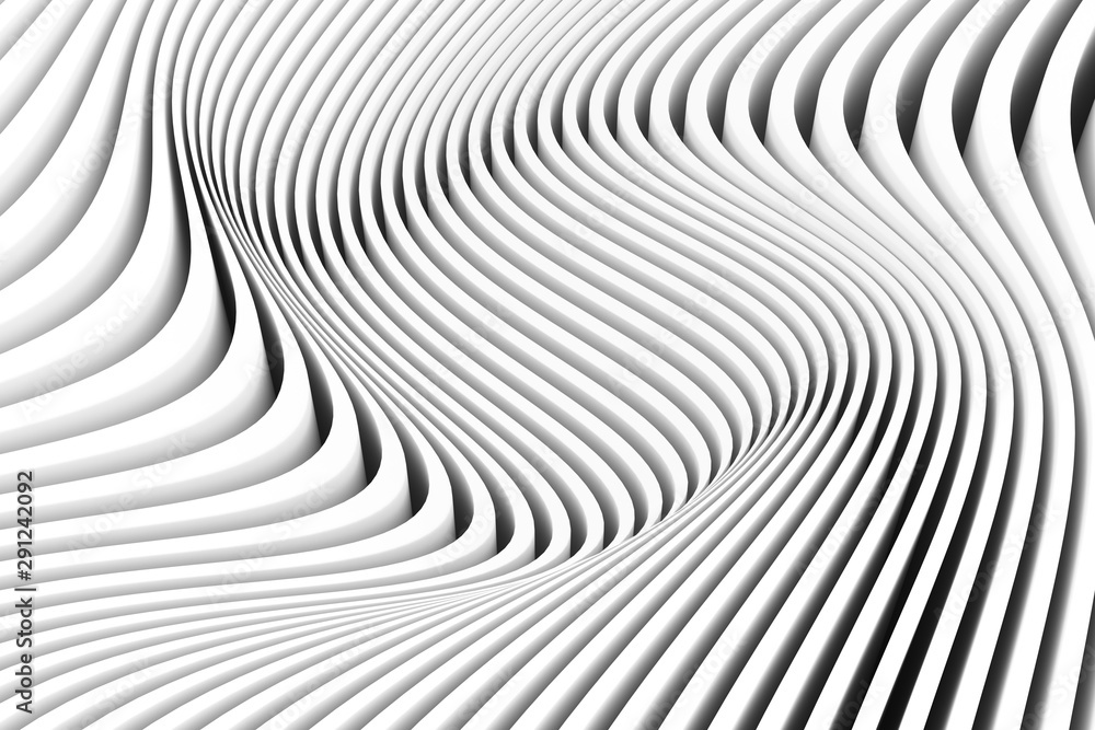 black and white abstract background with line and wave 3D illustration4