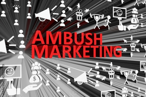 AMBUSH MARKETING concept blurred background 3d render illustration Canvas Print