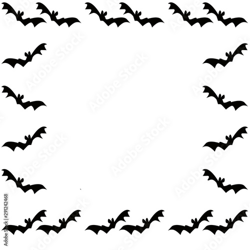 Photo Cornice con sagome di  pipistrelli neri isolati su sfondo bianco