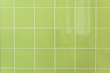 Bright Green Tile Wall Texture For Background Or Interior