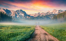 Unbelievable Summer Sunrise In Durmitor Nacionalni Park. Spectacular Foggy View Of Of Montenegro Countryside, Zabljak Town Location. Beautiful World Of Mediterranean Countries.