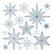 Stars. Hand Drawn Different Stars Vector Illustrations. Stars Sketch Drawing Collection. Part Of Set.