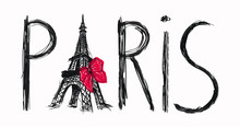 Lettering Paris With Eiffel Tower Isolated, Fashion Iilustration