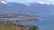 Landscape view of Montreux city with Swiss Alps, lake Geneva and vineyard. Switzerland