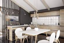 Modern Wooden Kitchen Interior...