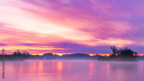 Wall Murals Candy pink Sunrise at the Ammersee