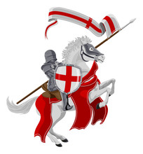 St George The Medieval Knight And Patron Saint Of England Celebrated On Saint Georges Day Riding His White Rearing Horse With A Spear, Shield And Banner