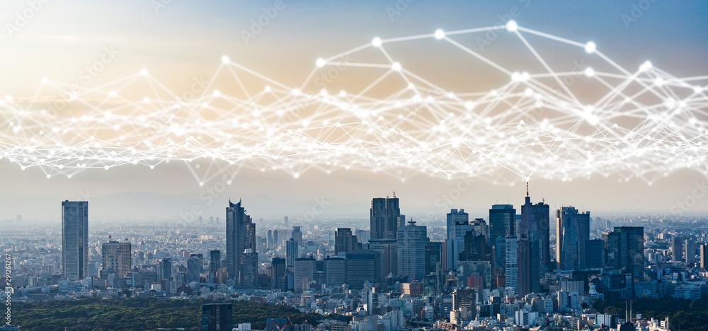 Fototapeta 都市とネットワーク