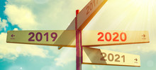 2020 New Year. Direction Indic...
