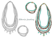 Handmade Jewelry In Ethnic Style: Long Necklace And Bracelet.