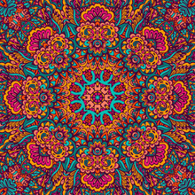 Abstract Festive Colorful Floral Vector Mandala Ethnic Tribal Pattern