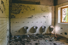 Old Abandoned Bathroom In A Sc...