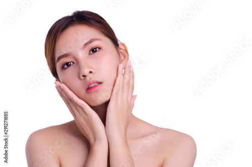 Fototapety, obrazy: asian young beautiful woman smiling and touching her face, isolated over white background. natural makeup, SPA therapy, skincare, cosmetology and plastic surgery concept