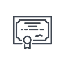 Certificate Line Icon. Diploma Vector Outline Sign.