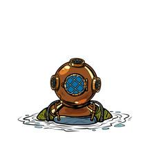 Retro Deep Sea Diver In Metal Helmet. Isolate On White Background