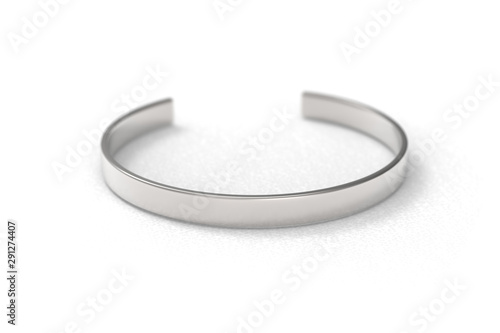 Valokuvatapetti Metal silver coloured bracelet on white background, the product mock-up