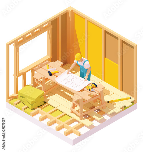 Vector isometric house construction Fototapete