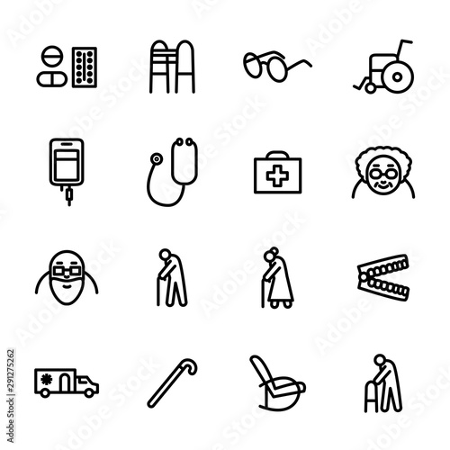 Photo  Old People Medicine Sign Black Thin Line Icon Set. Vector