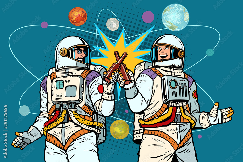 Fototapeta a bottle of beer cheers. two friends of the astronaut celebrate scientific achievements in space. cosmonautics day