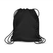 Realistic Drawstring Bag. Blac...