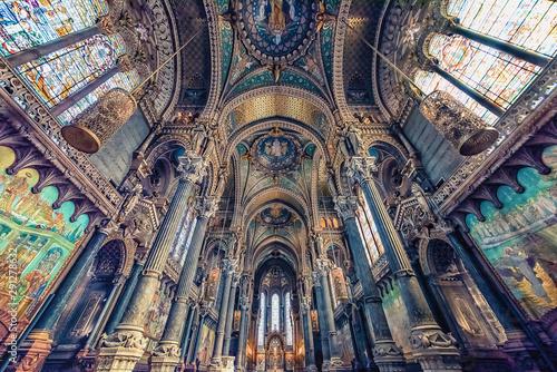 Fotografia, Obraz Inside the Basilica of Notre-Dame de Fourviere in Lyon, France