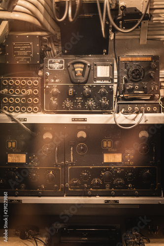Pearl Harbor, Hawaii - August 23rd 2019: Detail shot of radio equipment inside of the USS Bowfin Submarine at the Pearl Harbor Historic Visitor Centre Canvas Print