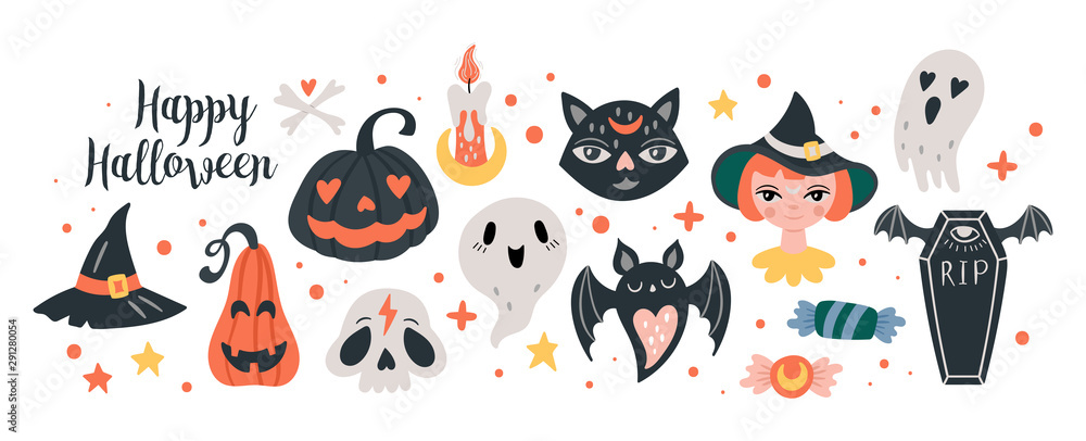 Fototapety, obrazy: Halloween holiday cute elements set.