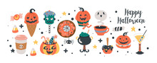 Halloween Holiday Cute Food And Drinks Set.