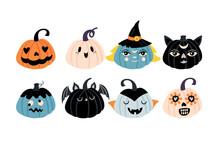Halloween Holiday Cute Character Pumpkin Set.
