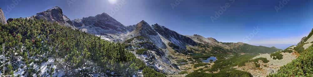 Fototapety, obrazy: Panorama szlak na przełęcz Karb i Mały Kościelec - widok na : Dolina Gąsienicowa, Kościelec, Świnica, Pośrednia Turnia, Kasprowy Wierch,  Tatry Stawy, Gąsienicowe