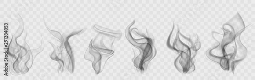 Fotografía Set of realistic transparent smoke or steam in white and gray colors, for use on light background