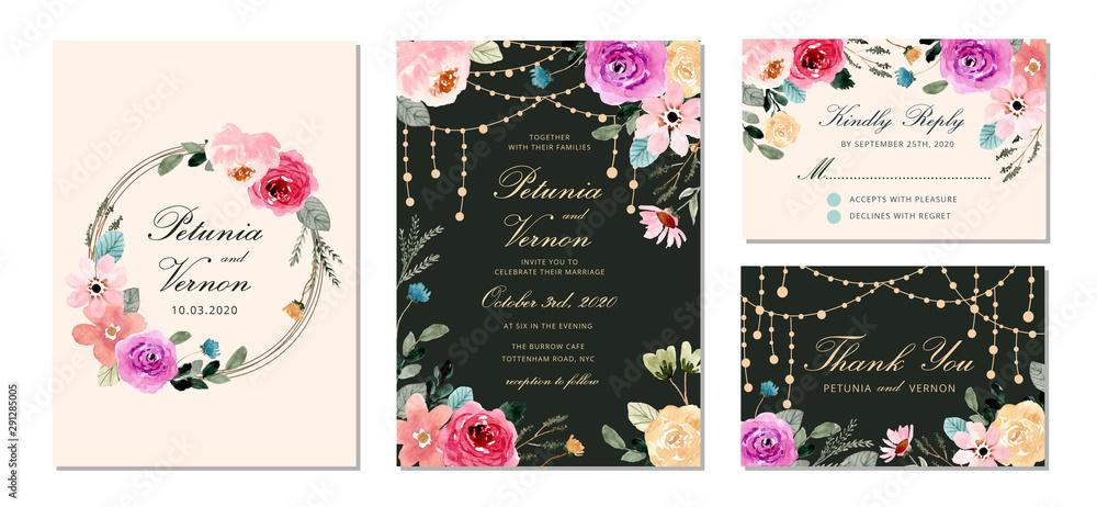 Fototapeta wedding invitation set with string light and pretty flower watercolor