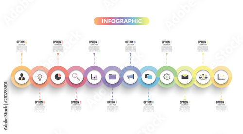Fotografia  Template Timeline Infographic colored horizontal numbered for 12 options