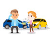 man and woman in car accident. the man pays all money for compensation. vector illustration isolated cartoon hand drawn.