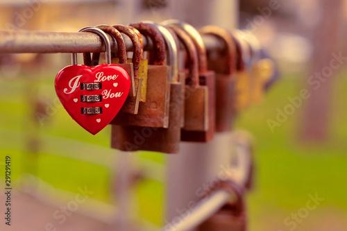Locket of love - heart shaped padlock Poster Mural XXL