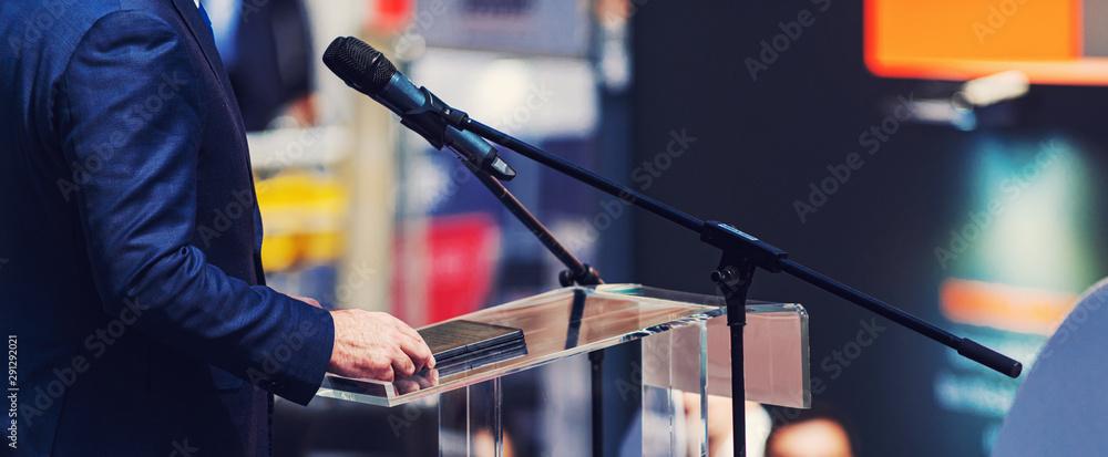 Fototapeta Male Speaker On The Stage