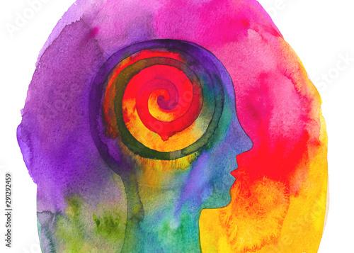 Disegno colorato concettuale yoga e meditazione Wallpaper Mural
