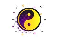 Ying Yang Sign Icon. Halftone Dots Pattern. Harmony And Balance Symbol. Classic Flat Balance Icon. Vector
