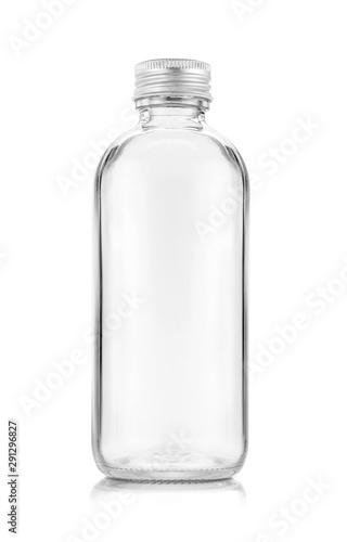 Fototapeta blank packaging transparent glass bottle for beverage or medicament product design mock-up obraz