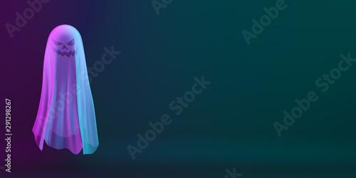 Obraz na plátně  Ghost on black blue purple background, vibrant color, neon flourescent