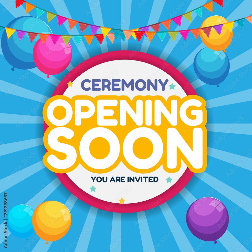 Opening Soon Invitation Card Vector Illustration