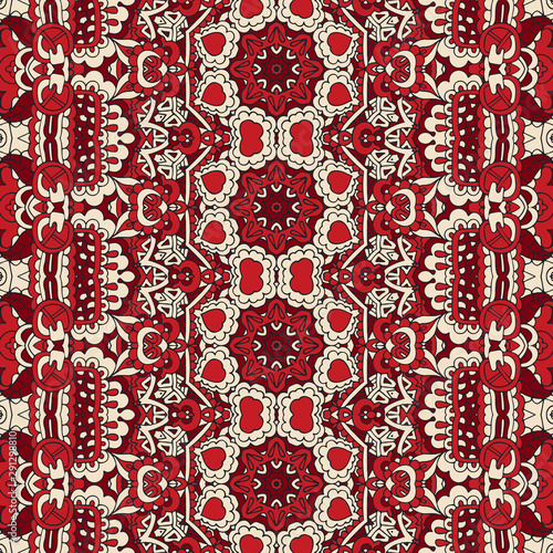 Vector Ethnic Abstract Seamless Festive textile pattern background Fotobehang